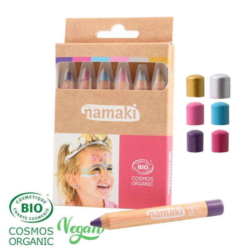 Crayons de maquillage pour enfants Mondes enchantés | Namaki | Or - Argent - Rose - Turquoise - Violet - Fuchsia